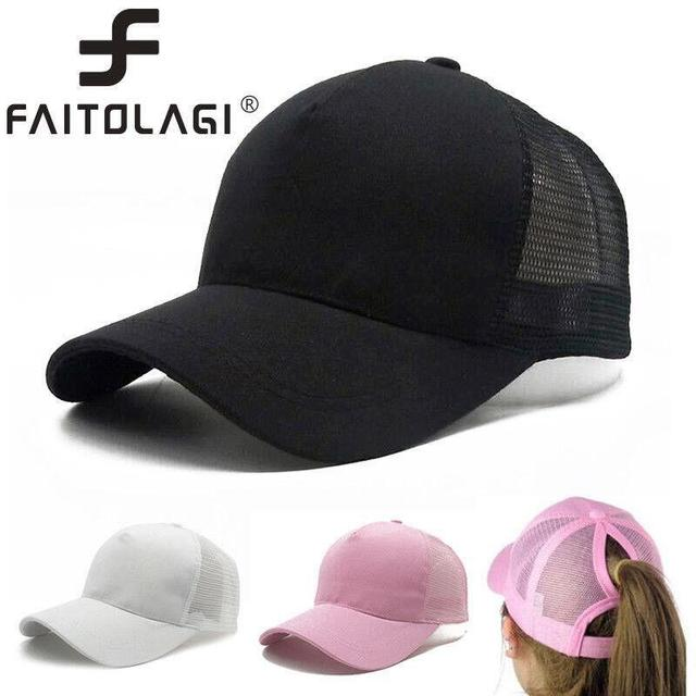 2019 Ponytail Hats Women Men Baseball Cap Women Messy Bun Baseball Hat Sun  Hats Snapback Caps Adjustable Hip pop Hats casquette be8928c9bf6