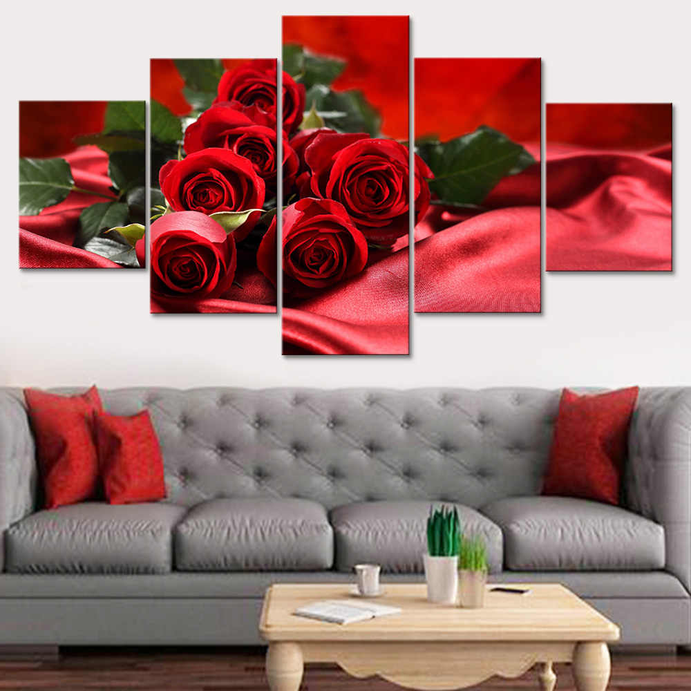 Painting Modern Art Print Live Wall 5 Pieces/Set Red Rose Photo Canvas Tableau Frame HD Decoration Modular Picture Poster