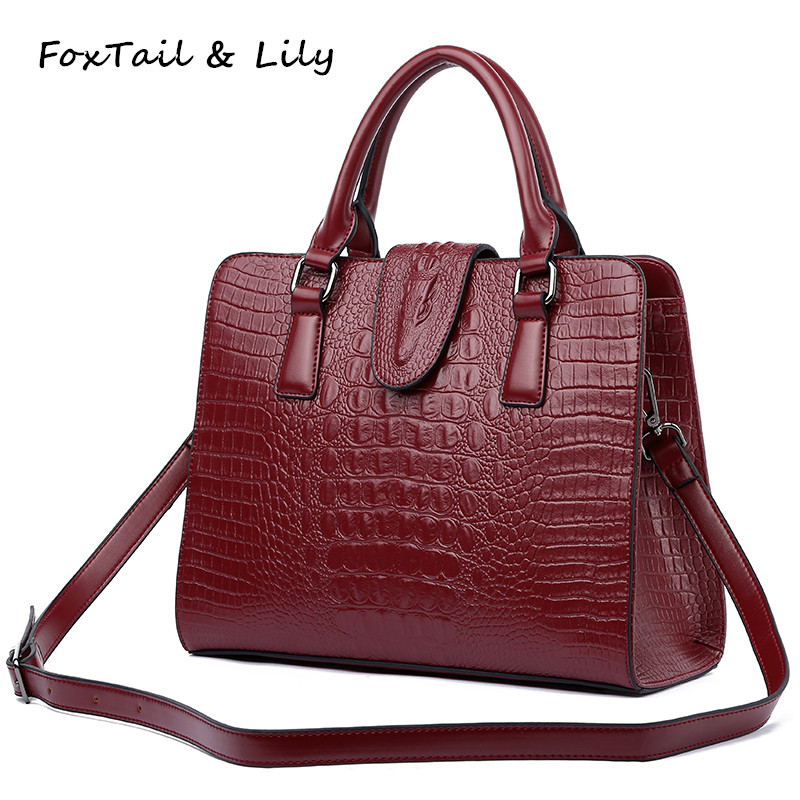 FoxTail & Lily Crocodile Pattern Genuine Leather Bag Women Shoulder Messenger Bags Luxury Famous Designer Handbags High Quality