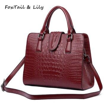 Tilki kuyruğu ve Zambak Timsah Desen hakiki deri çanta Kadınlar için omuz askılı postacı çantaları Lüks Ünlü tasarımcı çantaları Yüksek Kalite