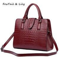 2016 Crocodile Pattern Genuine Leather Bag Women Shoulder Messenger Bags Handbags Women Famous Brands Designer High