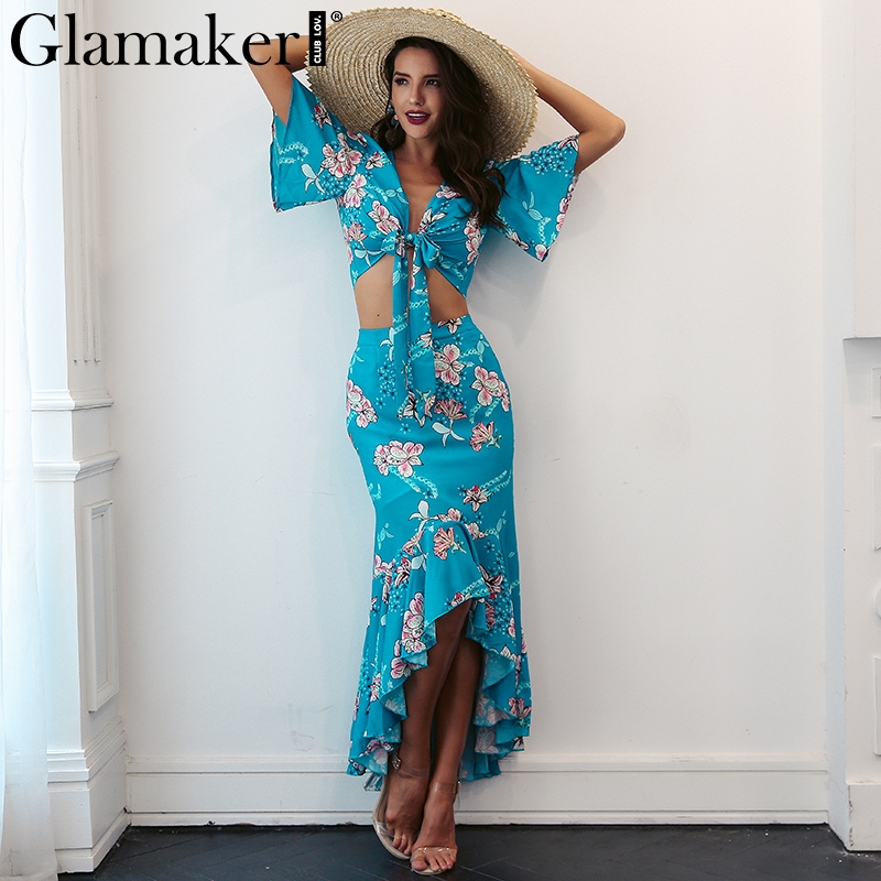Glamaker boho Dress Glamaker Flower print boho winter dress Women two piece ruffle maxi dress  beach vestidos Irregular sexy deep v neck party dress