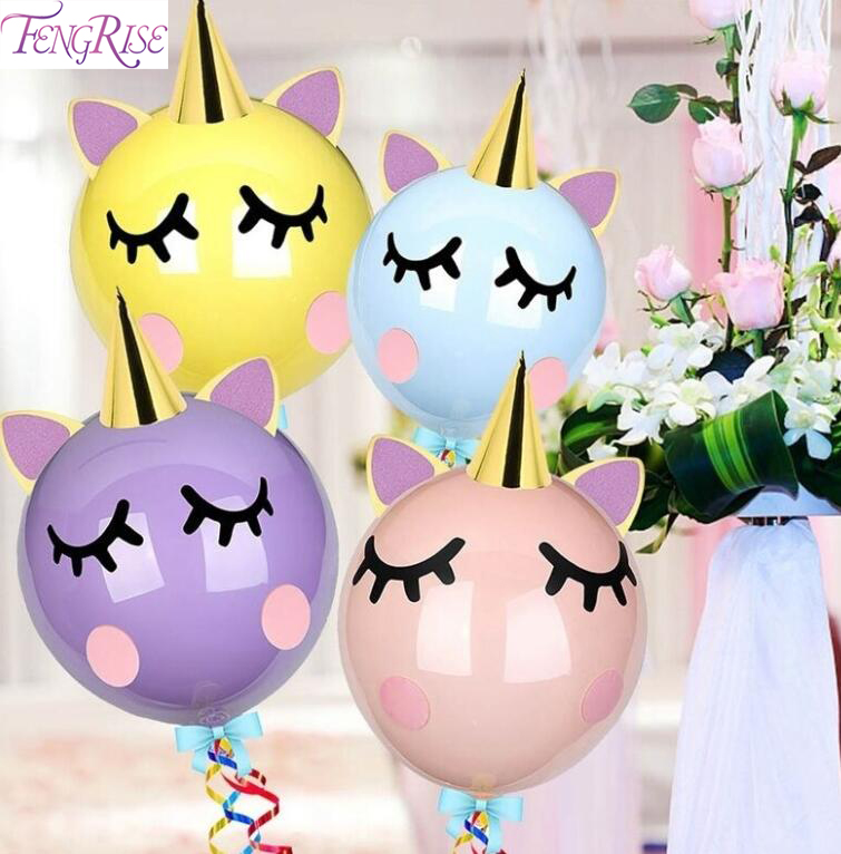 FENGRISE Unicornio Bobo Balloon Unicorn Foil Ballon Helium Baloon Birthday Party Decor Kid Baby Shower Balloons