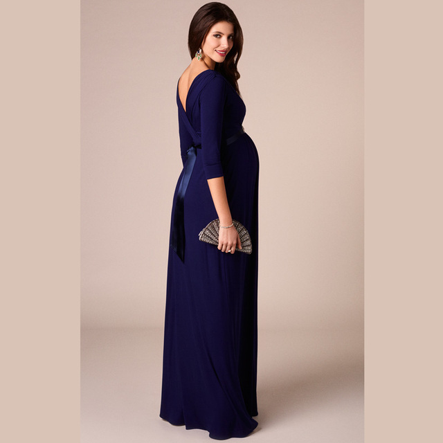 HI BLOOM Easter Gift Spring Tencel Maternity Clothing Maternity Dresses for Pregnant Women Long Prom Evening Party Vestidos Gown