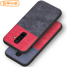 SRHE For Samsung Galaxy A6 Plus 2018 Case Cover PU Leather and Denim Silicone Full Back A6+