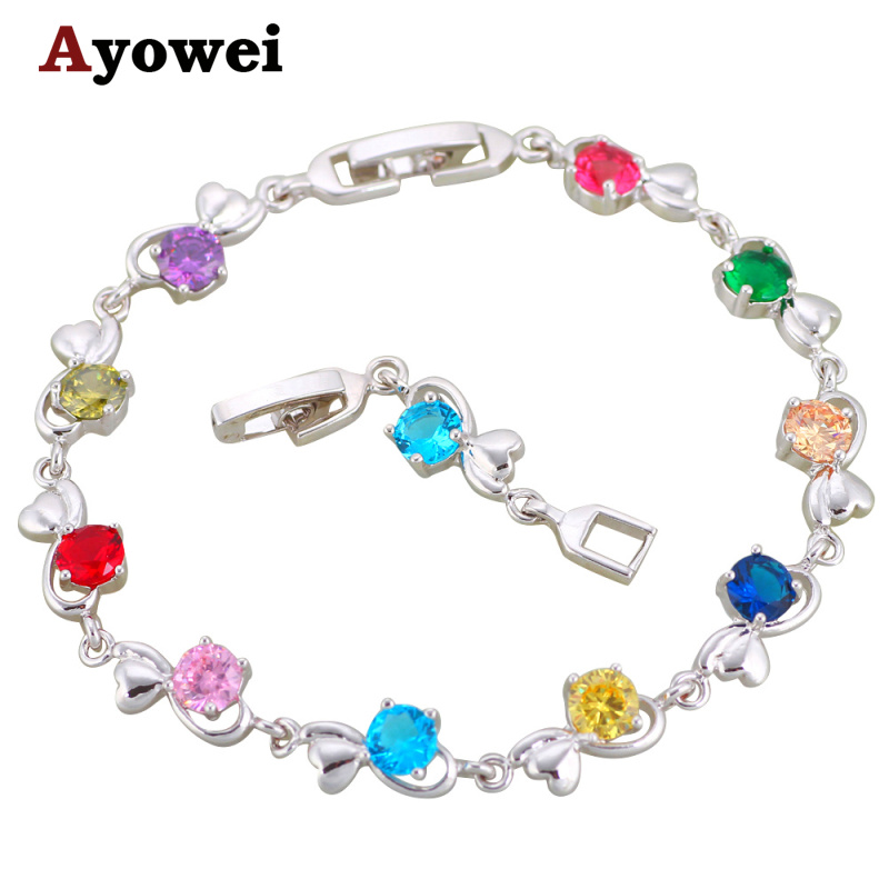 Ayowei Gorgeous New Style Multi Crystal Charm Bracelets Silver Pated Fashion Jewelry TB1127A for Women Birthday Gift