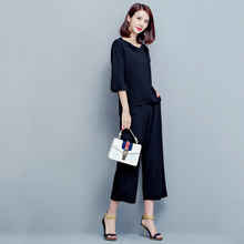 97708305271 Women 2 Piece Sets 2018 Summer O-Neck Flare Sleeves Tops Elastic Waist Wide  Leg