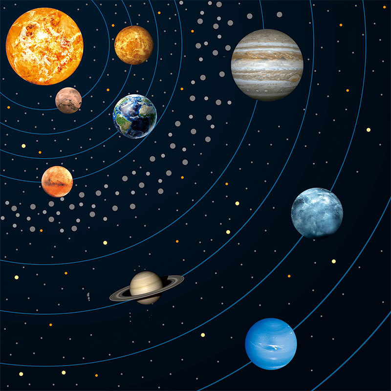 Planets Wall Paper Wall Stickers Decorative Wallpaper 3d Cartoon
