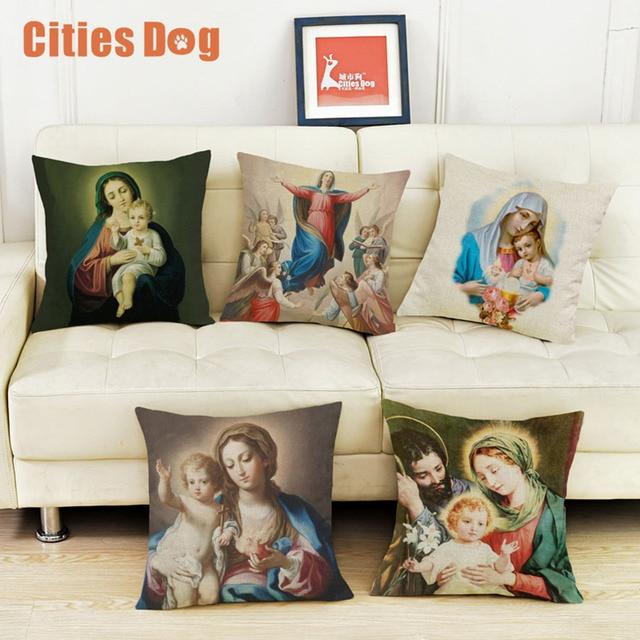 Christian Virgin Mary Religious Faith Printing Cotton Linen Amazing How To Use Decorative Pillows