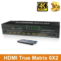 6 Port HDMI Matrix 6x2 HDMI Switch Splitter 6 input 2 output with IR Remote Support ARC SPDIF optical and 3.5mm Audio Out