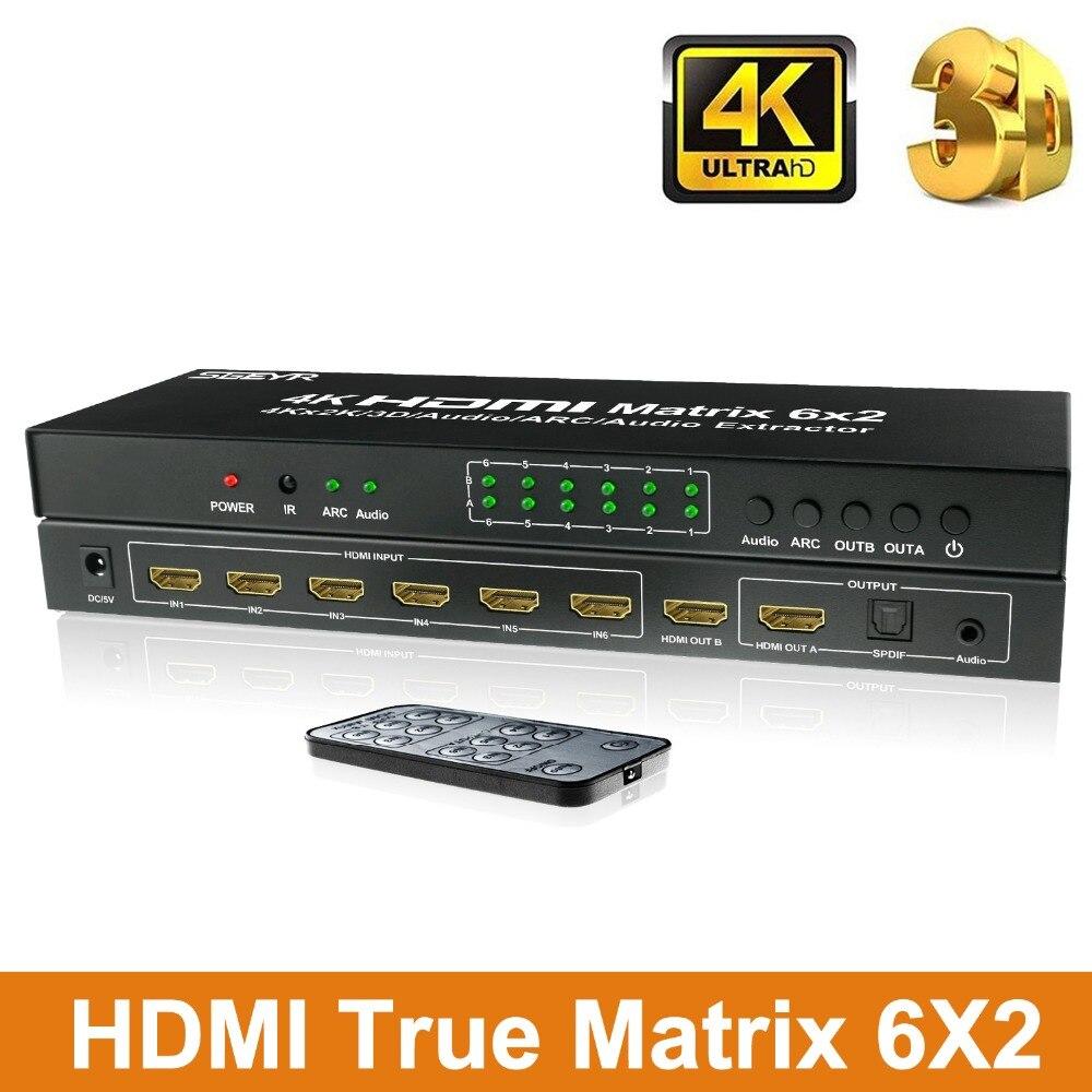 6 ports HDMI Matrix 6x2 HDMI commutateur séparateur 6 entrée 2 sortie avec prise en charge à distance IR ARC SPDIF optique et sortie Audio 3.5mm