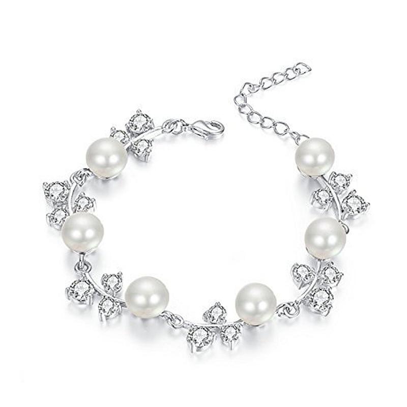 R Luxury Sexy Mixed Leaf shape 100 natural pearl AAAA zircon bracelet Wedding jewelry Fashion braceletfor