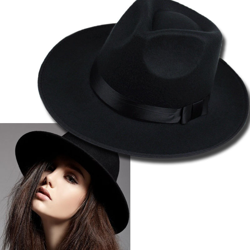 32b5a954a2d46 Solid Woolen Wide Brim Hats Spring Summer Felt Hats for Women Top Cap  Valentines Day Gift Black Elegant Women 2018 Jazz Hat Cap-in Hats   Caps  from Mother ...