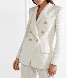 HIGH STREET última pasarela 2020 diseñador Blazer mujer Metal chal con botones Collar lana mezcla Tweed Blazer abrigo