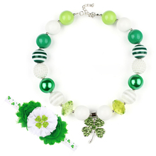St.Patrick Day Green Bead Bubblegum Chumky Necklace with Green Color Four Leaf Clover Pendant with Matching Headband