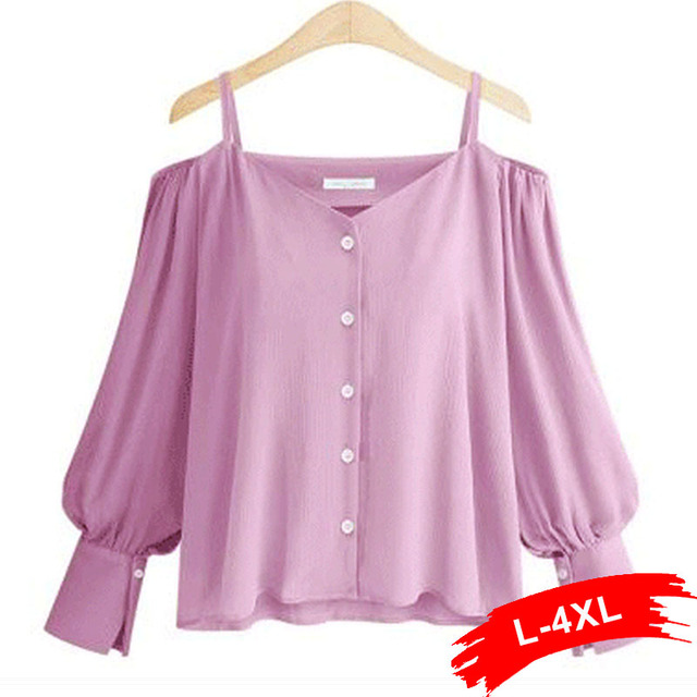 Plus Size Off Shoulder Long Sleeve Button Up Lavender Blouse 5Xl 4XL Summer Streetwear Cold Shoulder Slash Neck Weekend Shirts