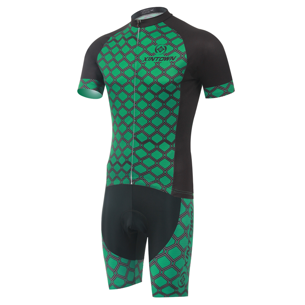 Green Men Women Cycling Set Short Sleeve Jersey and Shorts MTB Downhill Roupa Ciclismo 100 Polyester