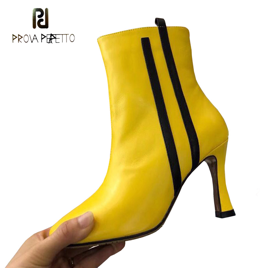 Prova Perfetto 2018 new round toe high heel ankle boots for women fashion mixed color stripe yellow genuine leather martin boots stepped hem mixed stripe shirt