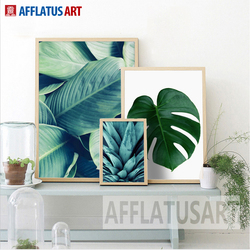 AFFLATUS Nordic Minimalismus Grüne Pflanze Blätter Leinwand Malerei Wand  Kunstdruck Poster Wand Bilder Für Wohnzimmer Wohnkultur