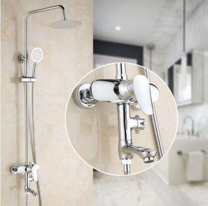 Brass wall mount shower faucet set, Chrome shower faucet shower head stainless steel hoses,Bathroom rainfall shower faucet mixer bathroom thermostatic shower faucet shower head set wall mount shower faucet mixer brass shower faucet thermostatic mixing valve