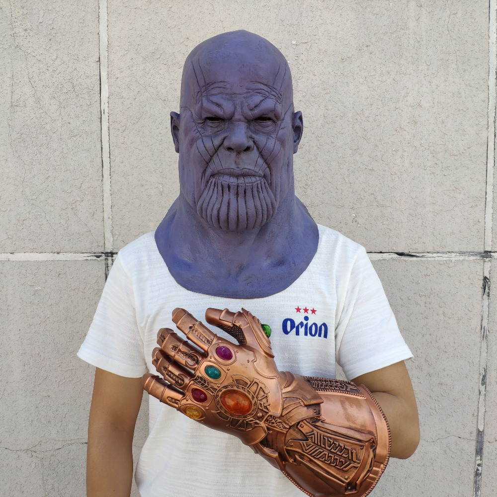 Купить с кэшбэком Deluxe Thanos Mask Gauntlet Gloves Helmet Cosplay Thanos Masks Arm Halloween Party Collection Props