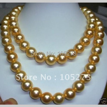 Charming 14mm South Sea Yellow Gold Shell Pearl Necklace 34inch Fashion Jewelry Wholesale New Free Shipping