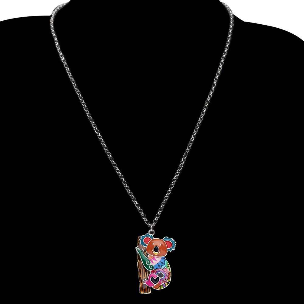 Bonsny Statement Zinc Alloy Australia Koala bear Choker Necklace Chain Pendant Fashion New Enamel Jewelry For Women Teens Girl