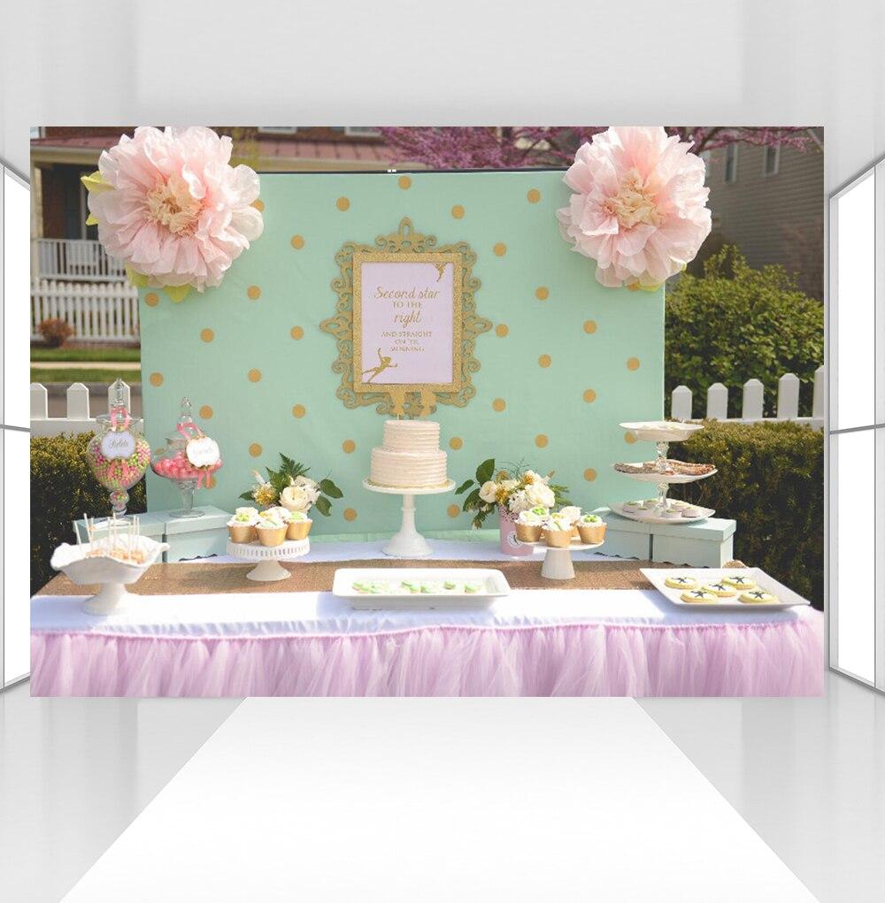 Mur vert or taches et cadre photographie toile de fond bébé princesse fête d'anniversaire bannière photographie fond CZ-124