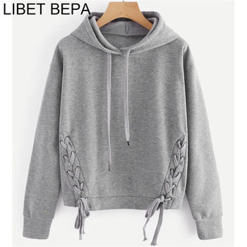 Winter Short Sweatshirt Lace-up Hooded Casual Girls