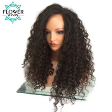 FlowerSeason Glueless Curly Brazilian Full Lace Human Hair Wigs With Baby Hair For Black Women Non-Remy Hair Bleached Knots