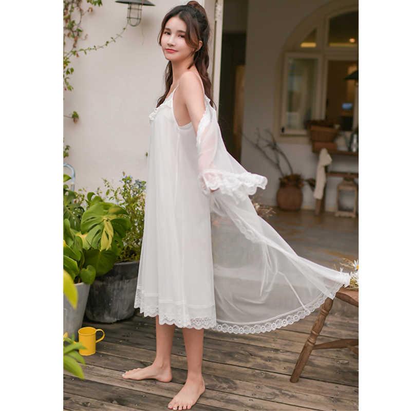 8e98be53b ... 2019 Sleepwear Women Night Wear Robe Gown Set Silk Lace Kimono Sexy  Nightie Cotton Lining Slip ...