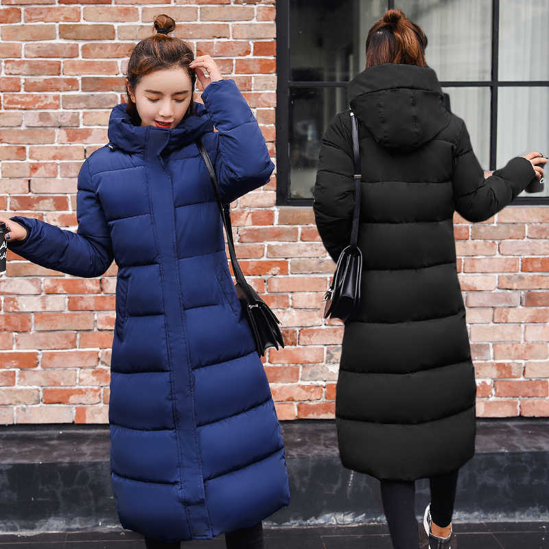 Artı boyutu 3XL Aşağı ceketler 2019 Moda Kadın Kış Ceket Uzun Ince Kalınlaşmak sıcak Ceket Aşağı Pamuk kapitone ceket Dış Giyim Parkas