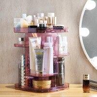 360 Degree Rotating Cosmetic Storage Box Transparent Dressing Table Shelf Desktop Lipstick Skin Care Finishing Box Storage Rack