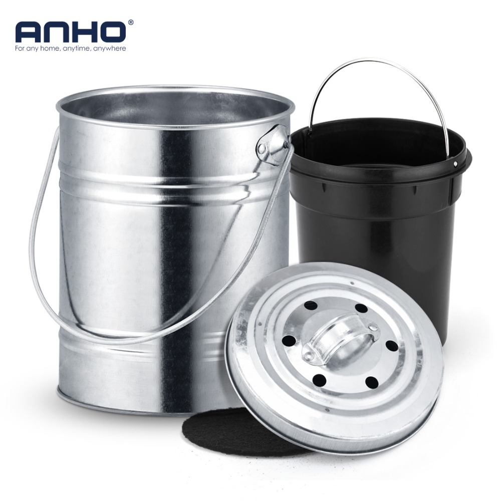 ANHO 3L Kitchen Compost Bin Melons Leaves Homemade Organic Trash Can Outdoor Countertop Black Charcoal Filter Double Bucket