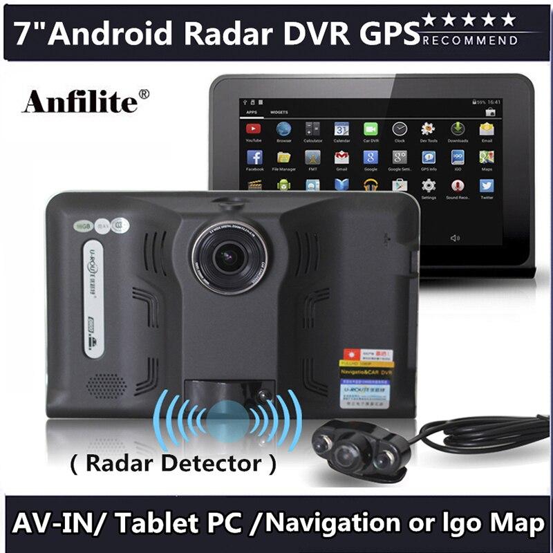 Anfilite GPS Navigation 7 Inch Android 4.4 16GB/512MB Truck Car GPS Navigator Tablet PC Car Radar Detector Car DVR Navitel Map