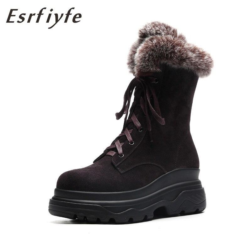 1c1457dd3 Botas Zapatos Caliente Invierno Negro Retro La Piel Casual De Nieve Vaca  Lana Plataforma Mezcla Ante 2018 Mujer ...