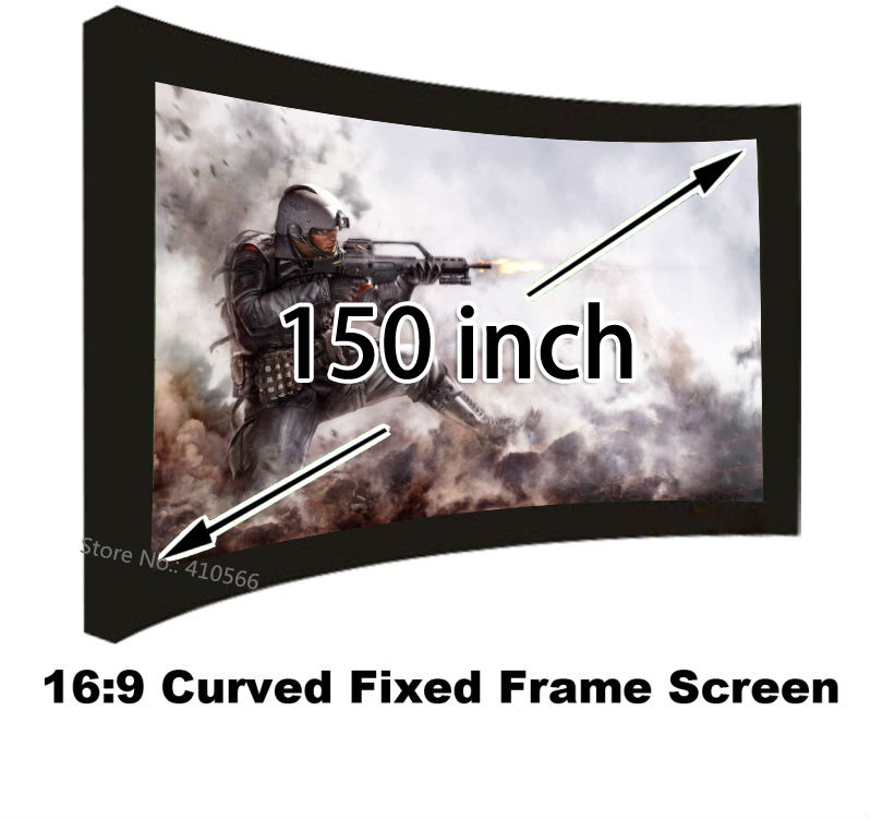 2016 New Huge Cinema Projection Screen 150 Inch Curved Fixed Frame DIY 16:9 Format Projector Screens 1080P low price 92 inch flat fixed projector screen diy 4 black velevt frames 16 9 format projection for cinema theater office room