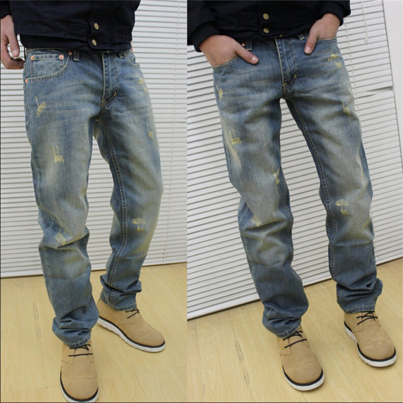 ФОТО denim pants stone washed distressed  hole vintage plus size 28-36  jeans male straight holes loose European jeans men