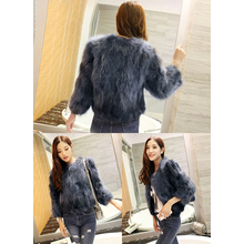 Women coat Real Knitted Raccoon Fur Womens Coat Short Paragraph Slim Natural Jacket Casual style