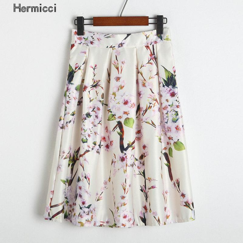 Hermicci Pleated Skirt 2017 Autumn Vintage Elegant Floral Print Ball Gown  Skirt Women Midi High Elastic Zip Waist Pink Skirt-in Skirts from Women s  Clothing ... ab9caaf22edf