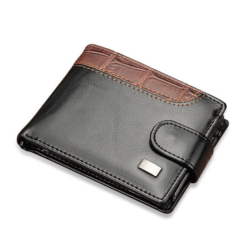 2019 New Patchwork Leather Men Wallets Short Male Purse With Coin Pocket Card Holder Brand Trifold Wallet Men Clutch Money Bag