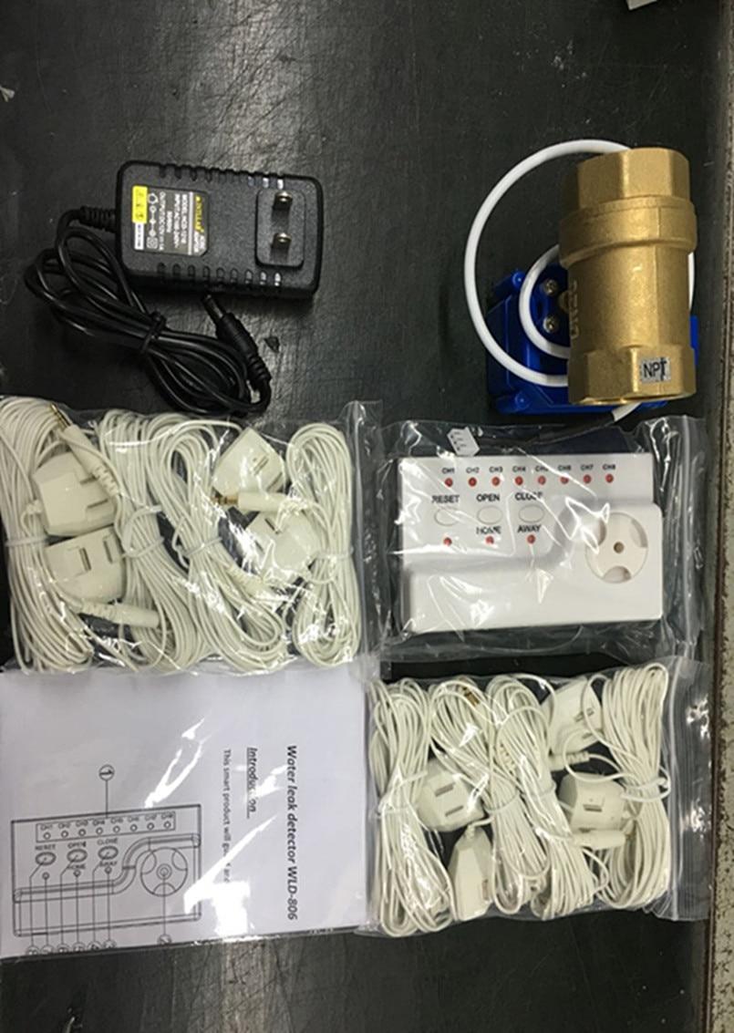 bilder für HIDAKA Verdrahtete WLD-806 Wasserlecksucher Alarm NPT gewinde 8 port Sensor Kabel für Smart Sicherheit für Bad Wäsche (DN25 * 1 stücke)