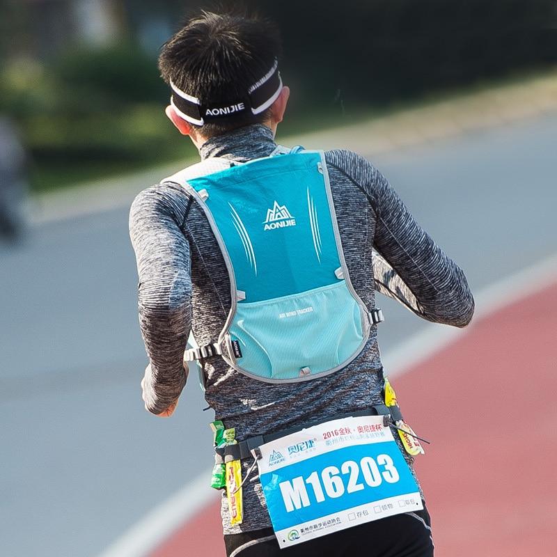 AONIJIE hombres mujeres corriendo mochila al aire libre de Deportes de pista de carreras de senderismo maratón Fitness hidratación chaleco paquete 1.5L bolsa 500 ml hervidor de agua - 3