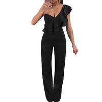 Black Playsuits 2017 Women One Shoulder Ruffle Bodysuit Sexy Elegant Summer Overalls Slim Jumpsuit Ladies Romper