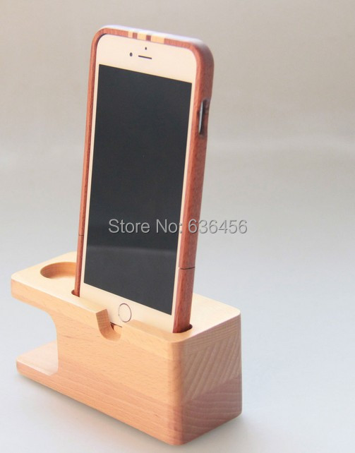 Bamboo Charging Dock Charge Station Stand Holder for Apple Watch iWatch iPhone+Phone Case (2)