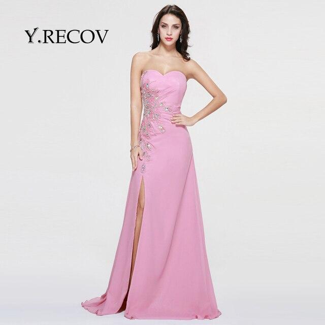 Yd2359 fluffy vestidos de baile una línea de novia de gasa rosa raja ...