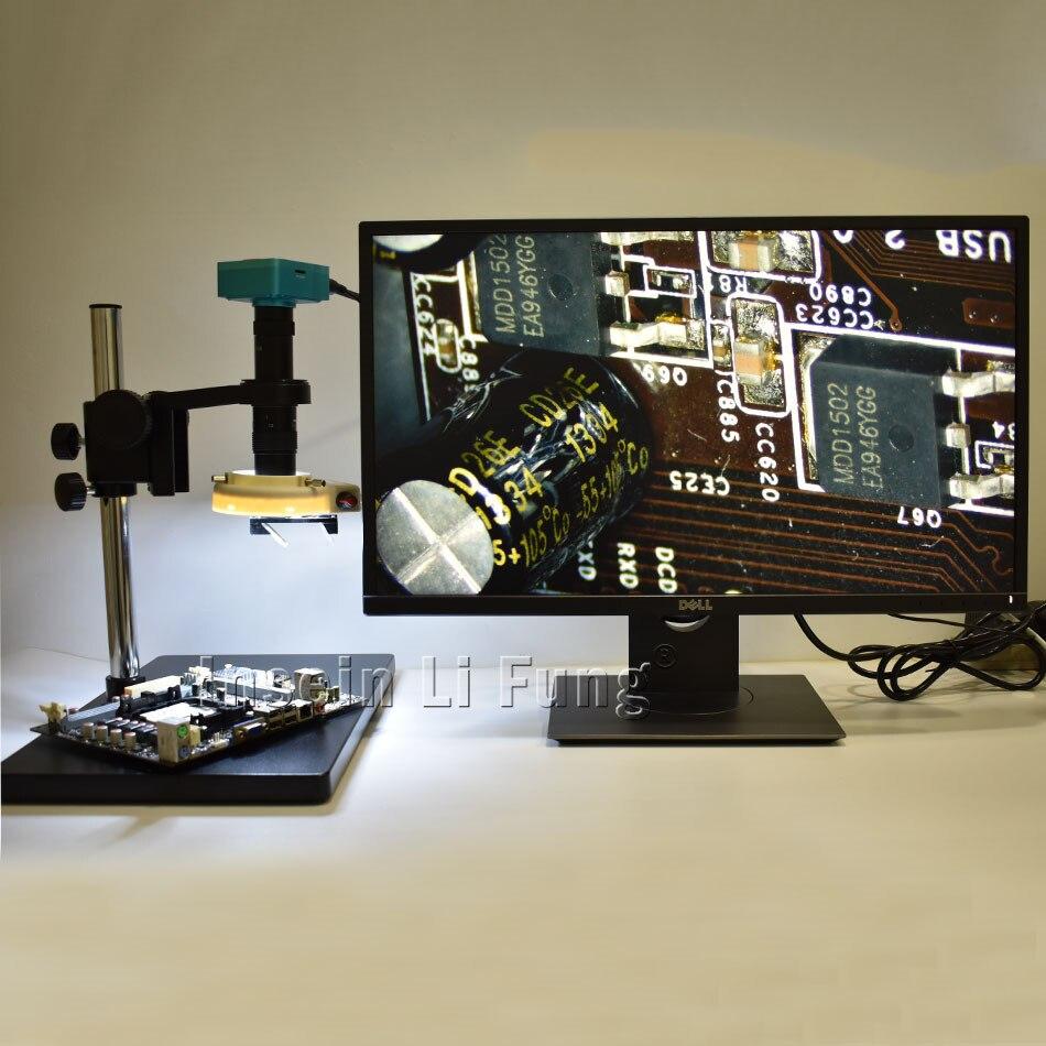 21MP HDMI HD микроскоп Камера + 3D лицевой стороне Регулируемый большое поле зрения 10X-180X увеличением C-mount объектив + светодиодный + кронштейн