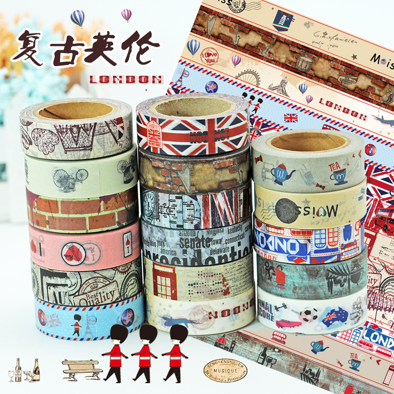 Tourist Souvenir Shop Sale Vintage British Style Washi Tape Set Favourites like Meter Word flag ,Soldier Decoration Paper Tapes