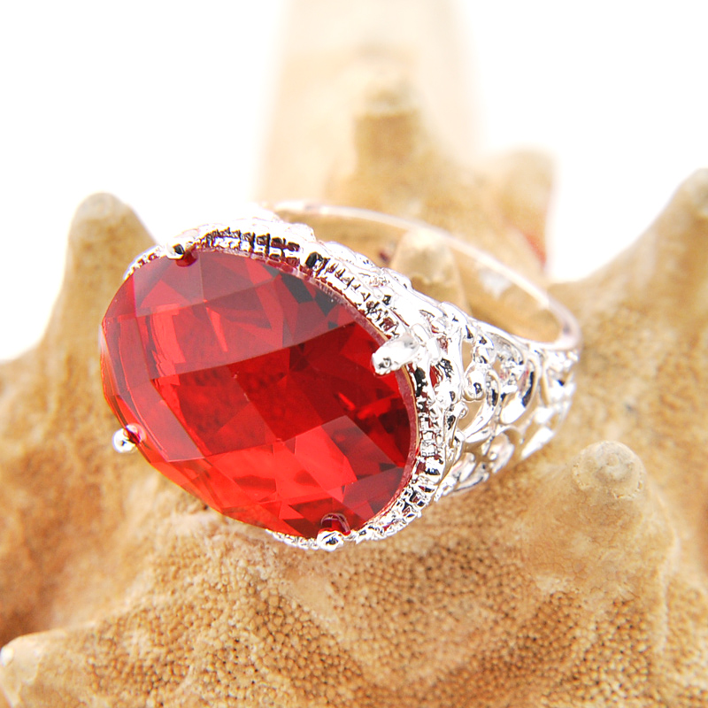 Promotion Holiday Gift Oval Fire Red Quartz Gems Silver Plated