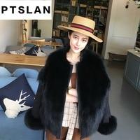 Ptslan 2017 New Fashion Women Luxurious Large Coat Warm Fox Fur Liner Parkas Winter Jacket Top